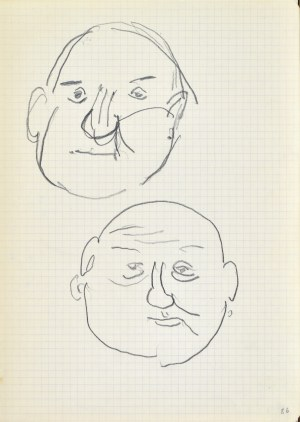 Jerzy PANEK (1918-2001), Szkic dwóch męskich głów