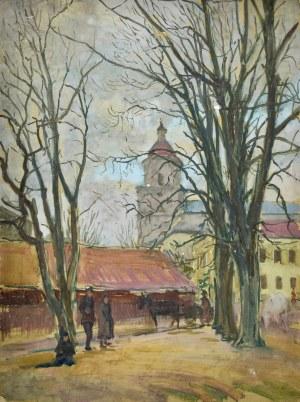 Józef PIENIĄŻEK (1888-1953), Pejzaż miejski z kościołe w dali
