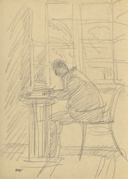 Wojciech WEISS (1875-1950), Stanisław Weiss – ojciec artysty w trakcie pisania przy stoliku nieopodal okna