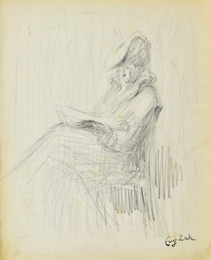 Eugeniusz ZAK (1887-1926), Siedząca kobieta czytająca książkę