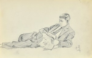 Stanisław ŻURAWSKI (1889-1976), Leżący mężczyzna czytający gazetę, 1921