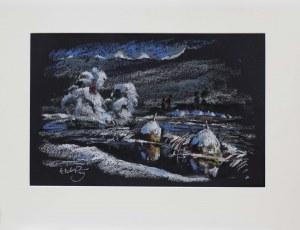 Wiktor Zin(1925-2007),Zimowy pejzaż nocą