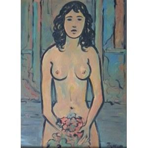 Tymon Niesiołowsk(1882-1965)i,Akt z bukietem kwiatów
