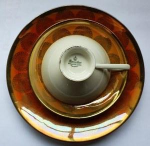 Zestaw deserowy (filiżanka, podstawka, talerzyk) z niemieckiej porcelany Waldsassen, lata 1950-60