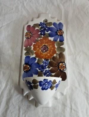 Świecznik z fajansu, ręcznie malowany, Polska