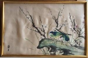 Pejzaż z ptaszkami, obraz na jedwabiu inspirowany sztuką japońską