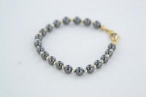 Komplet perłowy grafitowo-złoty (kolia + 2 bransoletki)