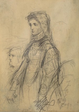 Jan Matejko (1838 Kraków - 1893 tamże), Wizerunek młodej kobiety – do portretu Barbary