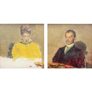 Jacek Malczewski (1854 Radom - 1929 Kraków), Portret podwójny – kobieta i mężczyzna za stołem