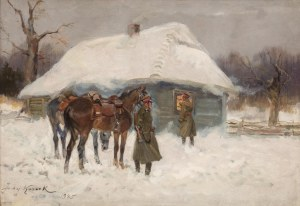 Jerzy Kossak (1886 Kraków - 1955 tamże), Przy chacie, 1945 r.