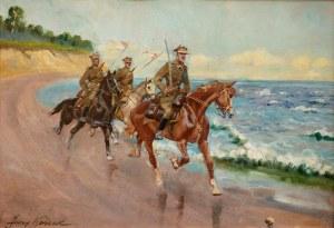 Jerzy Kossak (1886 Kraków - 1955 tamże), Ułani nad brzegiem morza