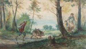 Franciszek Kostrzewski (1826 Warszawa - 1911 tamże), Na spacerze ze świnią