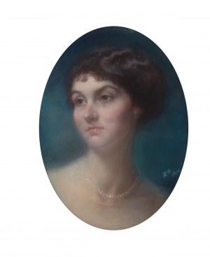 Zofia Atteslander (1874 Luborzyce – po 1928), Portret damy z perłami