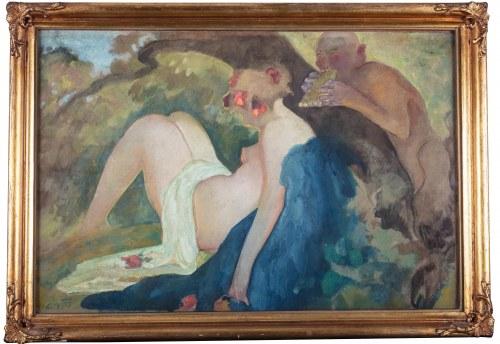 Kazimierz Sichulski (1879 Lwów - 1942 tamże), Nimfa i satyr, 1919 r.