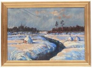 Wiktor Zin (1925 Hrubieszów - 2007 Rzeszów), Rzeka zimą, 1982 r.