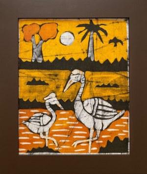 Ousman Bah, Brodzące ptaki na tle palmy i drzewa kapakowego