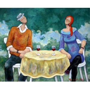 Henryk TROJAN, Przy żółtym stoliku, 2021 r.