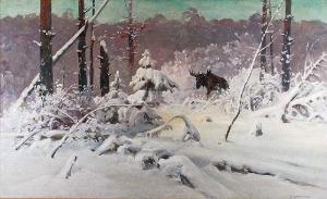 Ignacy ZYGMUNTOWICZ (1875-1947), Pejzaż zimowy z łosiem