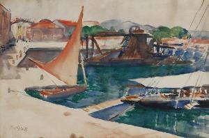 Teodor GROTT (1884-1972), Łodzie w porcie Concarneau