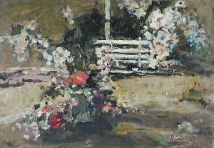 Magdalena SPASOWICZ (ur. 1927), Ogród z ławeczką, 1994
