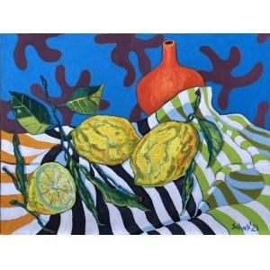 David Schab, Martwa natura z cytrynami i pomarańczowym wazonem, 2021