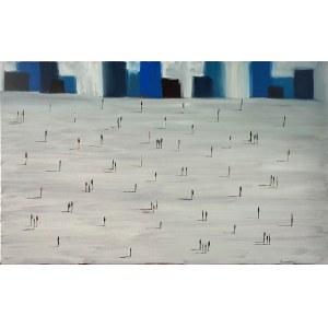 Filip ŁOZIŃSKI, Szara kompozycja z ludźmi, 2021 r.