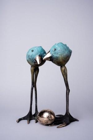 I.K., Ptaki z jajem (Brąz, wys. 28 cm)