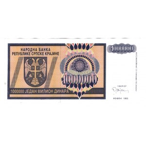 Croatia Krajina 1000000 Dinar 1993