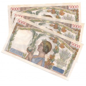 France 5000 Francs 1942 3 Consecutive