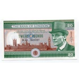 Great Britain 20 Pounds 2016 Specimen Sherlock Holmes