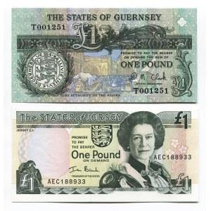 Guernsey & Jersey 2 x 1 Pound 1991 - 2000