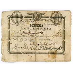 Italian States Prima Repubblica Romania 50 Bajocchi 1798