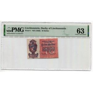 Liechtenstein 10 Heller 1920 (ND) PMG 63