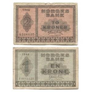 Norway 1 Krone & 2 Kroner 1944