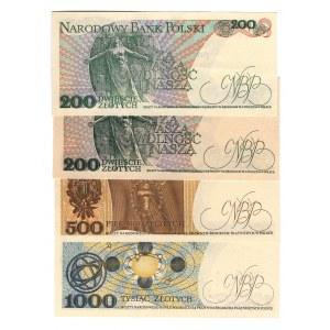 Poland 200-500-1000 Zlotych 1982 - 1986 4 Pieces