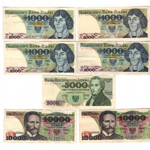 Poland 1000-5000-10000 Zlotych 1982 - 1988 7 Pieces