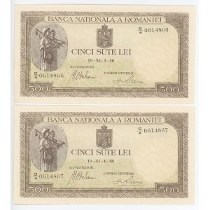 Romania 2 x 500 Lei 1940 With Consecutive Numbers