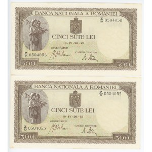 Romania 2 x 500 Lei 1942 With Consecutive Numbers
