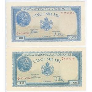 Romania 2 x 5000 Lei 1943 & 1945