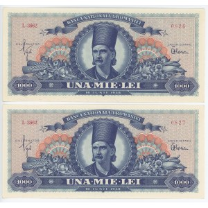 Romania 2 x 1000 Lei 1948 With Consecutive Numbers