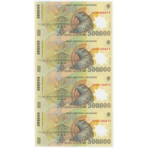 Romania 4 x 500000 Lei 2000 Uncutted Sheet of Notes