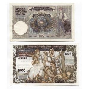 Serbia 100 & 1000 Dinara 1941