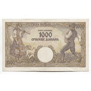 Serbia 1000 Dinara 1942 Watermark Woman
