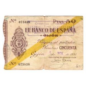 Spain Gijon 50 Peset 1936