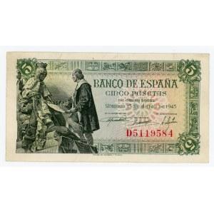 Spain 5 Pesetas 1945