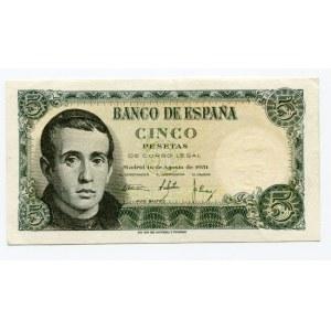 Spain 5 Pesetas 1951