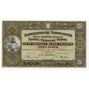 Switzerland 5 Franken 1952
