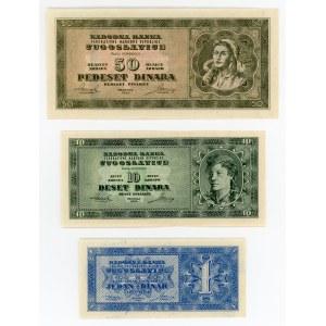 Yugoslavia 1 - 10 - 50 Dinara 1950