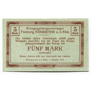 Germany - Empire 5 Mark 1915 Koenigstein POW Camp