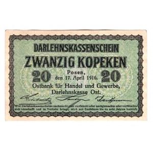 Germany - Empire Posen Occupation 20 Kopeks 1916